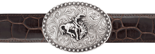 """Silver King Bronco with Berries 1 1/2"""" Trophy Buckle"""