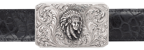 """Silver King Rectangle Indian Chief 1 1/2"""" Trophy Buckle"""