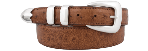 Smooth Ostrich Tapered Belt - Barnwood