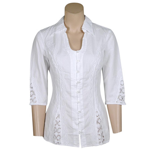 3/4 Sleeve Button-Down Shirt with Crocheted Insets