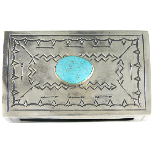 Silver Stamped Match Box Cover - Top