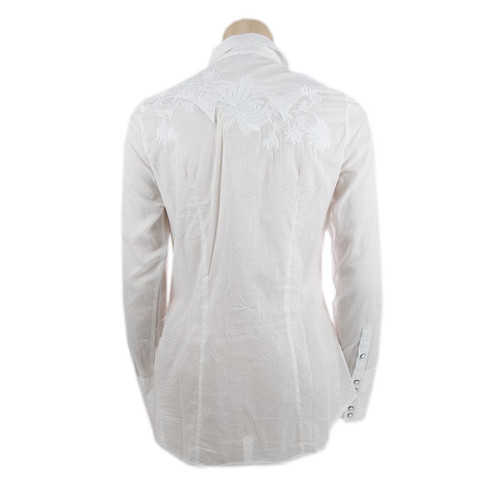 """Voile"" Western Snap Shirt - White"