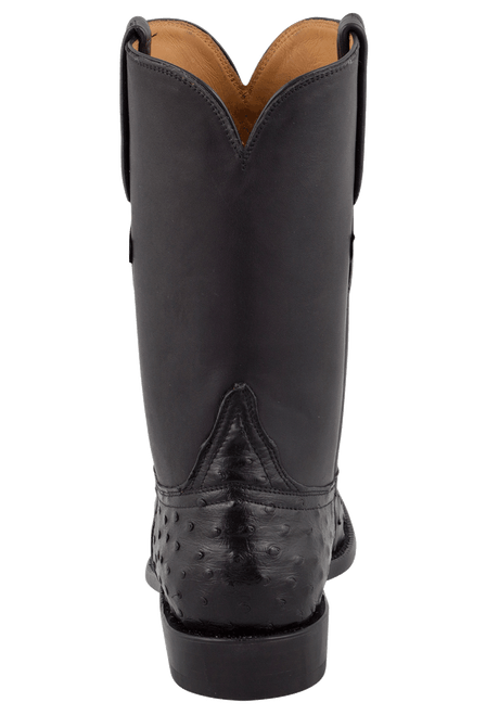 Lucchese Men's Black Full-Quill Ostrich Roper Boots - Back