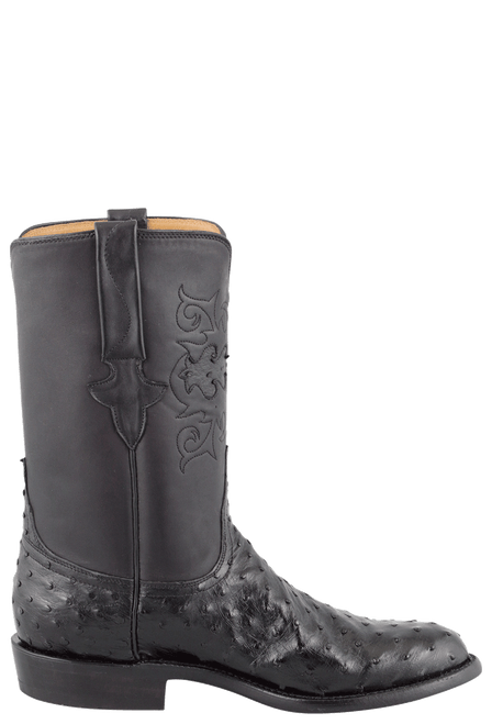 Lucchese Men's Black Full-Quill Ostrich Roper Boots - Side