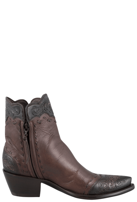 Stallion Women's Zorro Tan and Chocolate Tooled Ankle Boots - Side