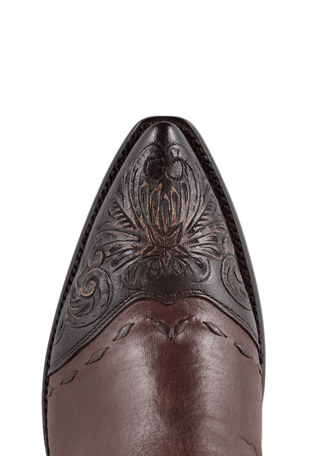 Stallion Women's Zorro Tan and Chocolate Tooled Ankle Boots - Toe