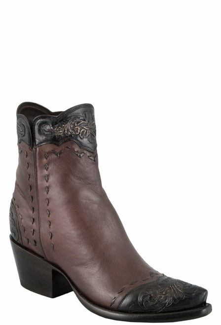 Stallion Women's Zorro Tan and Chocolate Tooled Ankle Boots - Hero