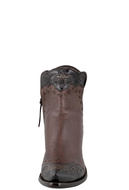 Stallion Women's Zorro Tan and Chocolate Tooled Ankle Boots - Front