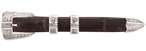 """Chacon Arrow Feathered Engraved 3/4"""" Buckle Set"""