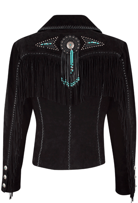 Scully Fawn Fringe Jacket - Black - Back