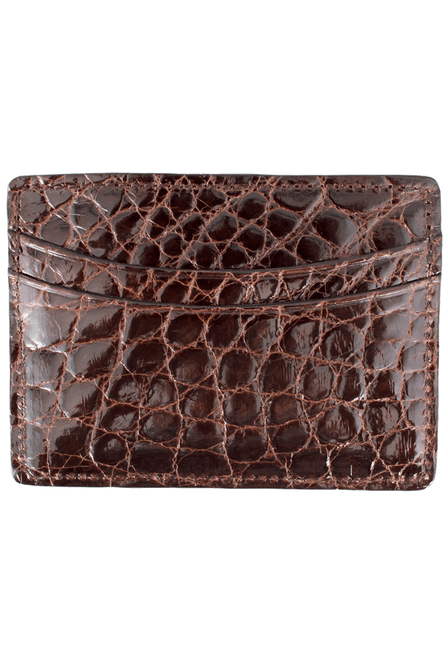 Alligator 5-Pocket Card Case - Brown - Front