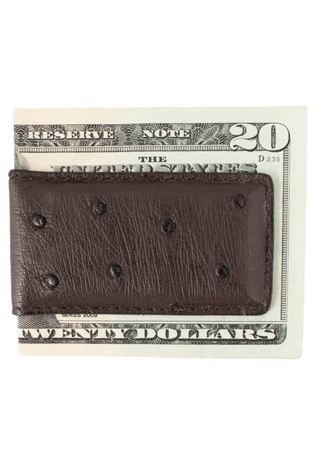 Ostrich Magnetic Money Clip - Brown - Back