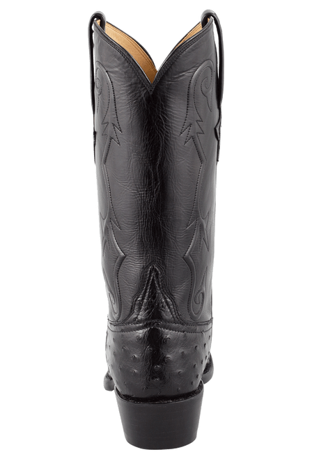 Lucchese Men's Black Full-Quill Ostrich Boots - Back