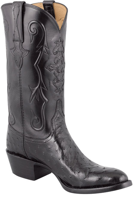 Lucchese Men's Black Full-Quill Ostrich Boots - Hero