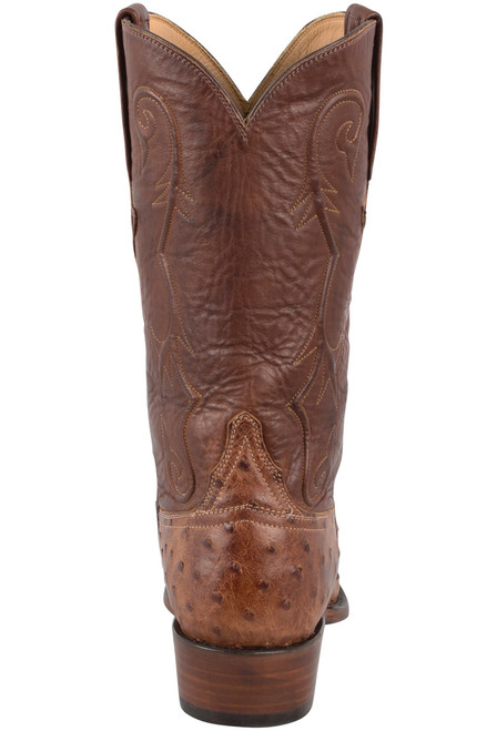 Lucchese Men's Barnwood Full-Quill Ostrich Boots - Back