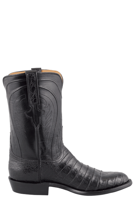 Lucchese Men's Black Belly Caiman Roper Boots - Side
