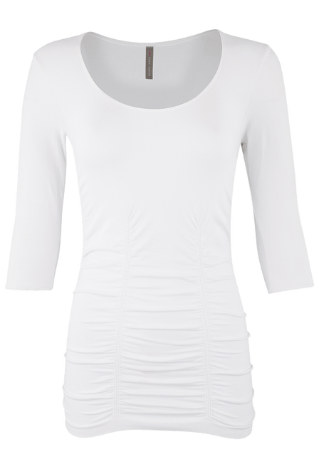 Last Tango Ruched Top - White - Front