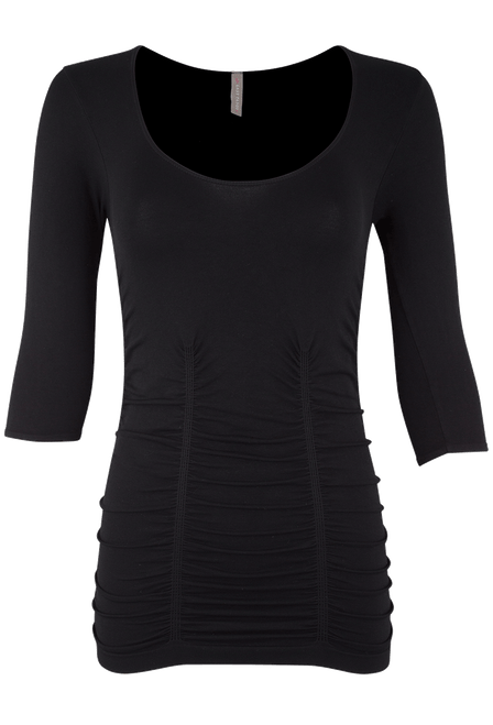 Last Tango Ruched Top XL - Black - Front