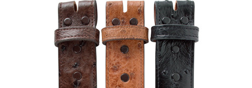 """Full-Quill Ostrich 1 1/2"""" Straight Belt Strap - Snap"""