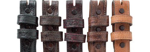 """Full-Quill Ostrich 1 1/4 - 1"""" Tapered Belt Strap - Snap"""