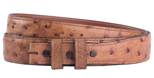 """Full-Quill Ostrich 1 1/4 - 1"""" Tapered Belt Strap - Barnwood 1"""