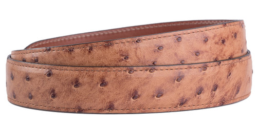 """Full-Quill Ostrich 1 1/4 - 1"""" Tapered Belt Strap - Barnwood 2"""