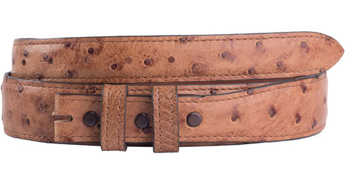 """Full-Quill Ostrich 1 1/4 - 1"""" Tapered Belt Strap - Barnwood 3"""