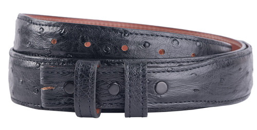 """Full-Quill Ostrich 1 1/4 - 1"""" Tapered Belt Strap - Black"""