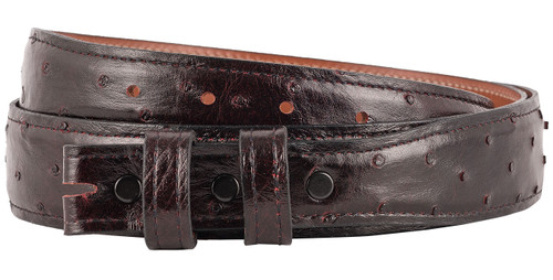 """Full-Quill Ostrich 1 1/4 - 1"""" Tapered Belt Strap - Black Cherry"""