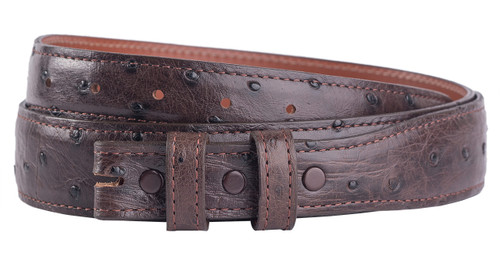 """Full-Quill Ostrich 1 1/4 - 1"""" Tapered Belt Strap - Nicotine Brown"""