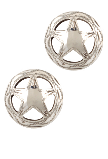 Pinto Ranch Quarter Star Engraved Cufflinks - Front