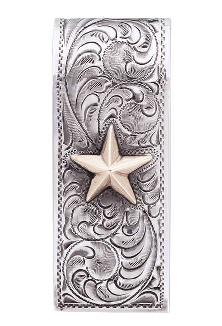 Pinto Ranch Lonestar Gold and Silver Engraved Money Clip - Front