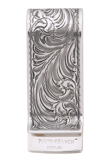 Pinto Ranch Lonestar Gold and Silver Engraved Money Clip - Back