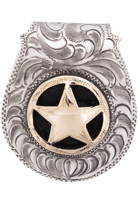 Pinto Ranch Star Gold and Silver Engraved FOB Money Clip - Front