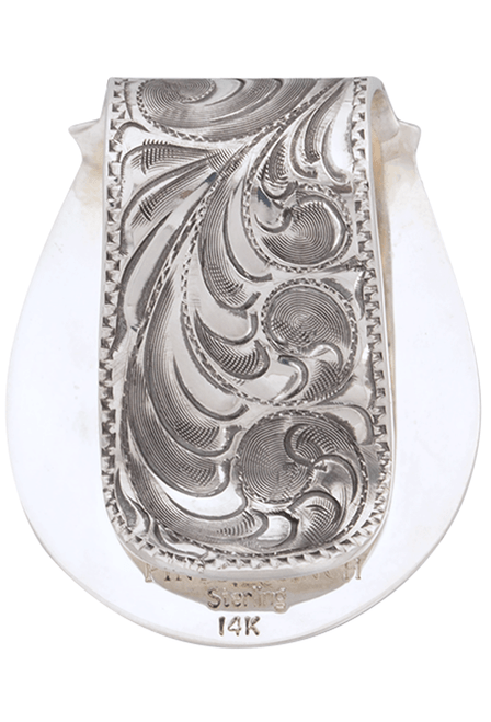 Pinto Ranch Star Gold and Silver Engraved FOB Money Clip - Back