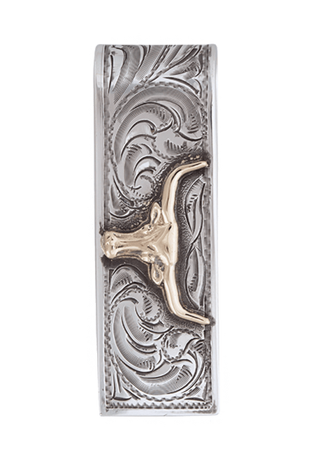 Pinto Ranch Longhorn Gold and Silver Engraved Money Clip - Front
