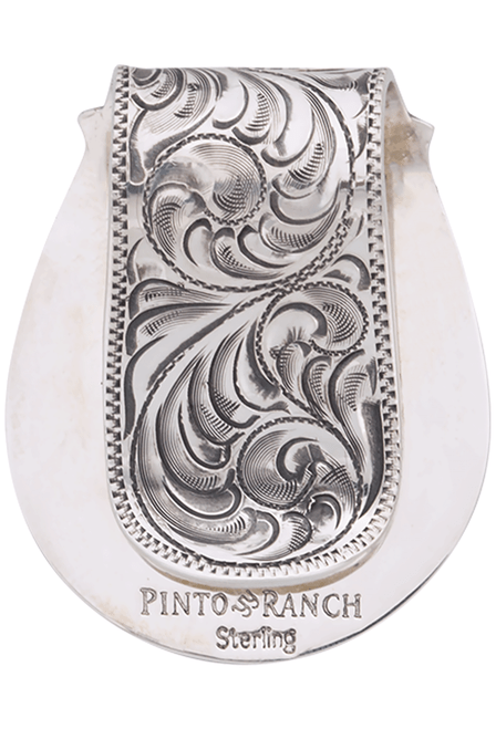 Pinto Ranch State Seal of Texas Engraved FOB Money Clip - Back