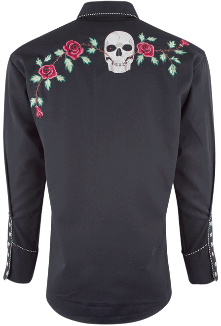 Scully Men's Skull and Roses Snap Shirt - Back