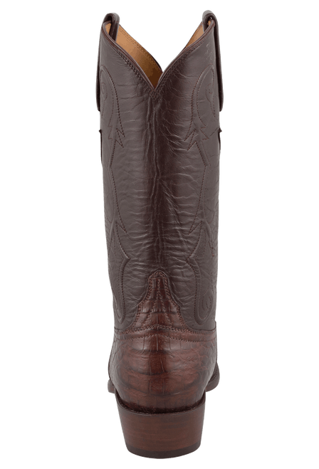 Lucchese Men's Sienna Ultra Caiman Crocodile Boots - Round Toe - Back