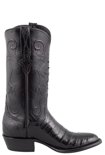 Lucchese Men's Black Ultra Caiman Crocodile Boots - Side
