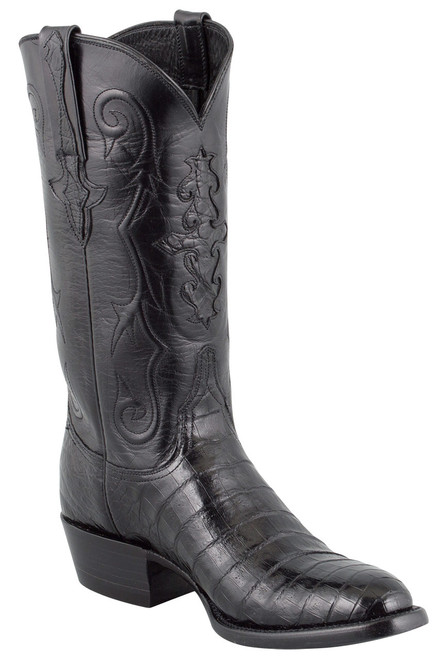 Lucchese Men's Black Ultra Caiman Crocodile Boots - Round Toe