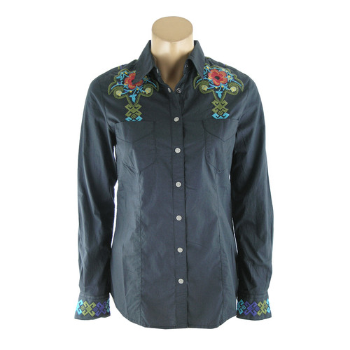 Aztec Embroidered Western Shirt