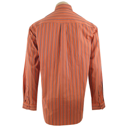Cinch - Long Sleeve Shirt - Orange with Navy Stripes