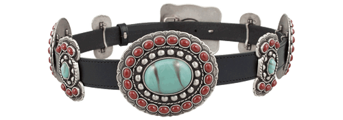 Turquoise and Coral Butterfly Concho Belt - Black - Back