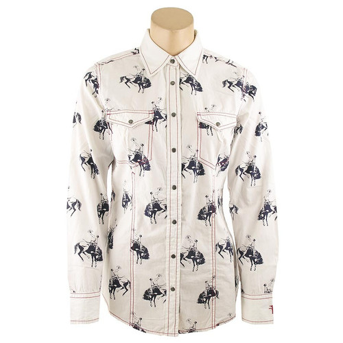 Barn Fly Bucking Horse Print Snap Shirt