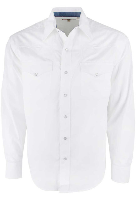 STETSON OPTIC WHITE LONG SLEEVE SNAP SHIRT-FRONT