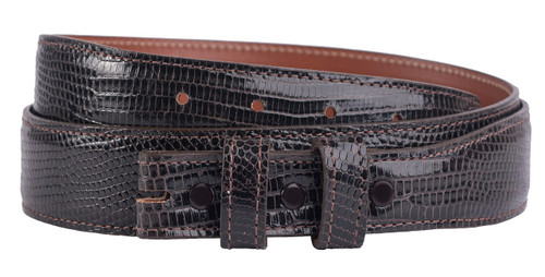 "Lizard 1 1/4 - 1"" Tapered Belt Strap - Chocolate"