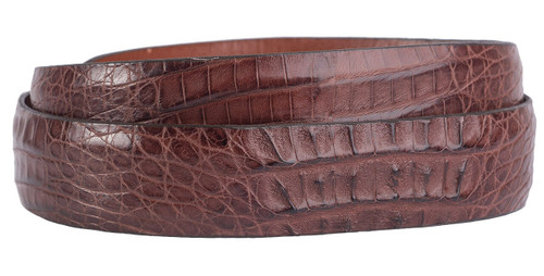 "Hornback Crocodile 1 1/4 - 1"" Tapered Belt Strap - Cigar 2"