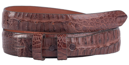 "Hornback Crocodile 1 1/4 - 1"" Tapered Belt Strap - Cigar 3"