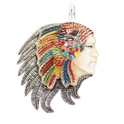 Charm - Indian Chief Rhinestone Charm